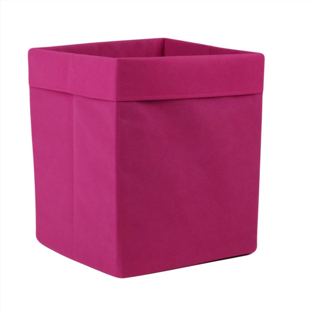 Скринька для зберігання, 25*25*30 см, (спанбонд), з відворотом (рожевий)