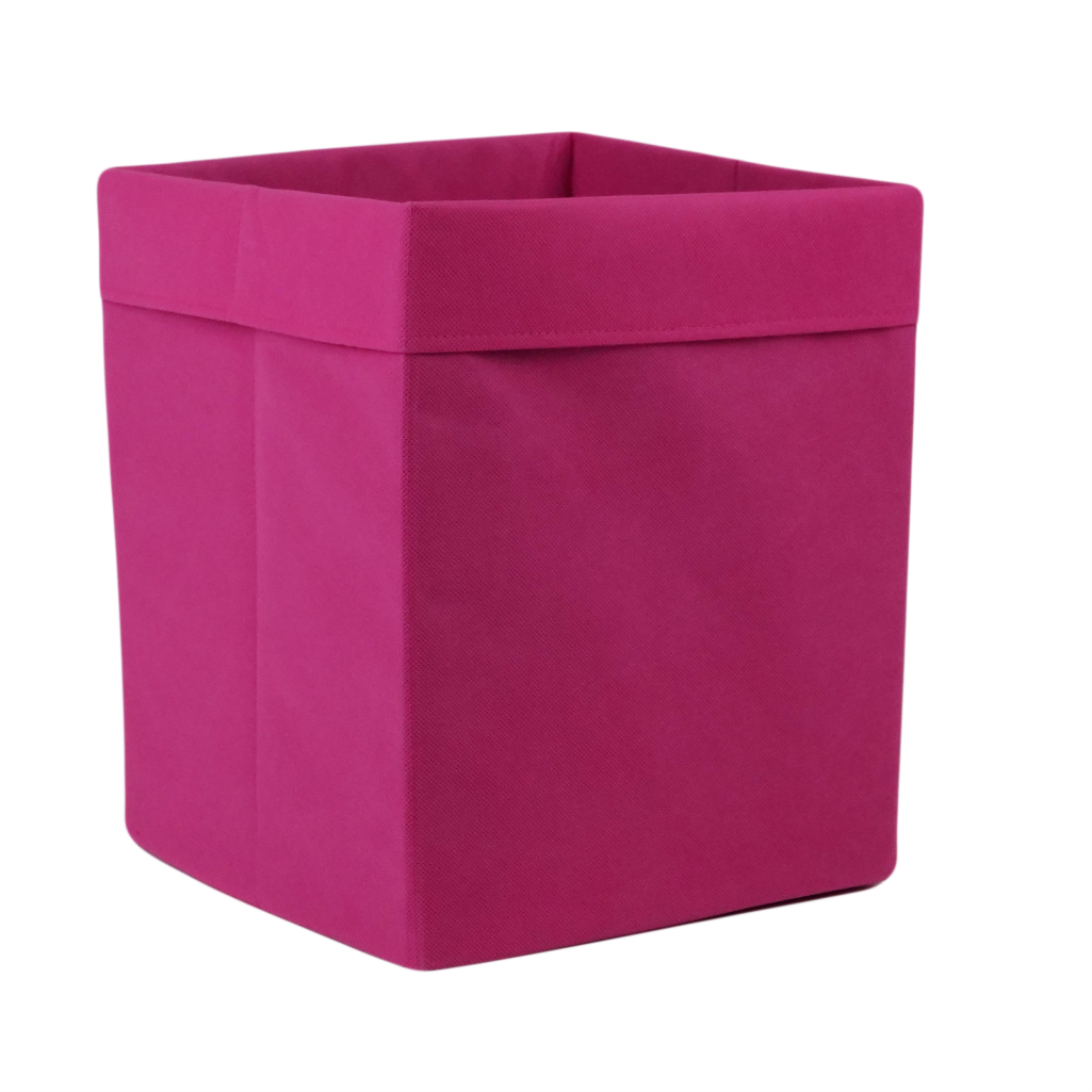 Ящик (коробка) для хранения, 25 * 25 * 30см, (спанбонд), с отворотом (розовый)