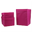 Ящик (коробка) для хранения, 25 * 25 * 30см, (спанбонд), с отворотом (розовый), фото 3