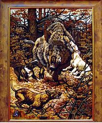 """Картина з бурштину """"Полювання"""" 30*40 см"""