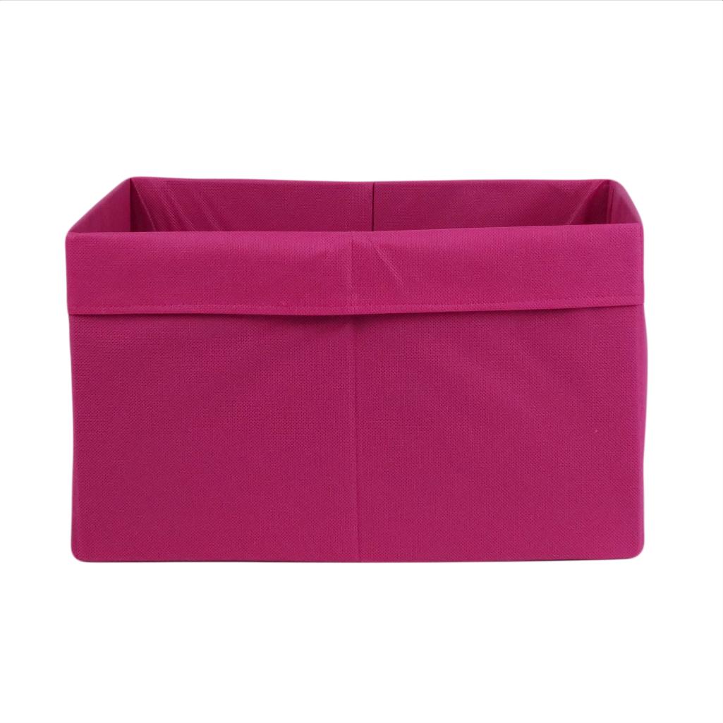 Ящик  (коробка) для хранения, 25 * 35 * 20см, (спанбонд), с отворотом (розовый)