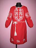 """Красное детское платье вышиванка """" Белые розочки """" на рост 116-158"""