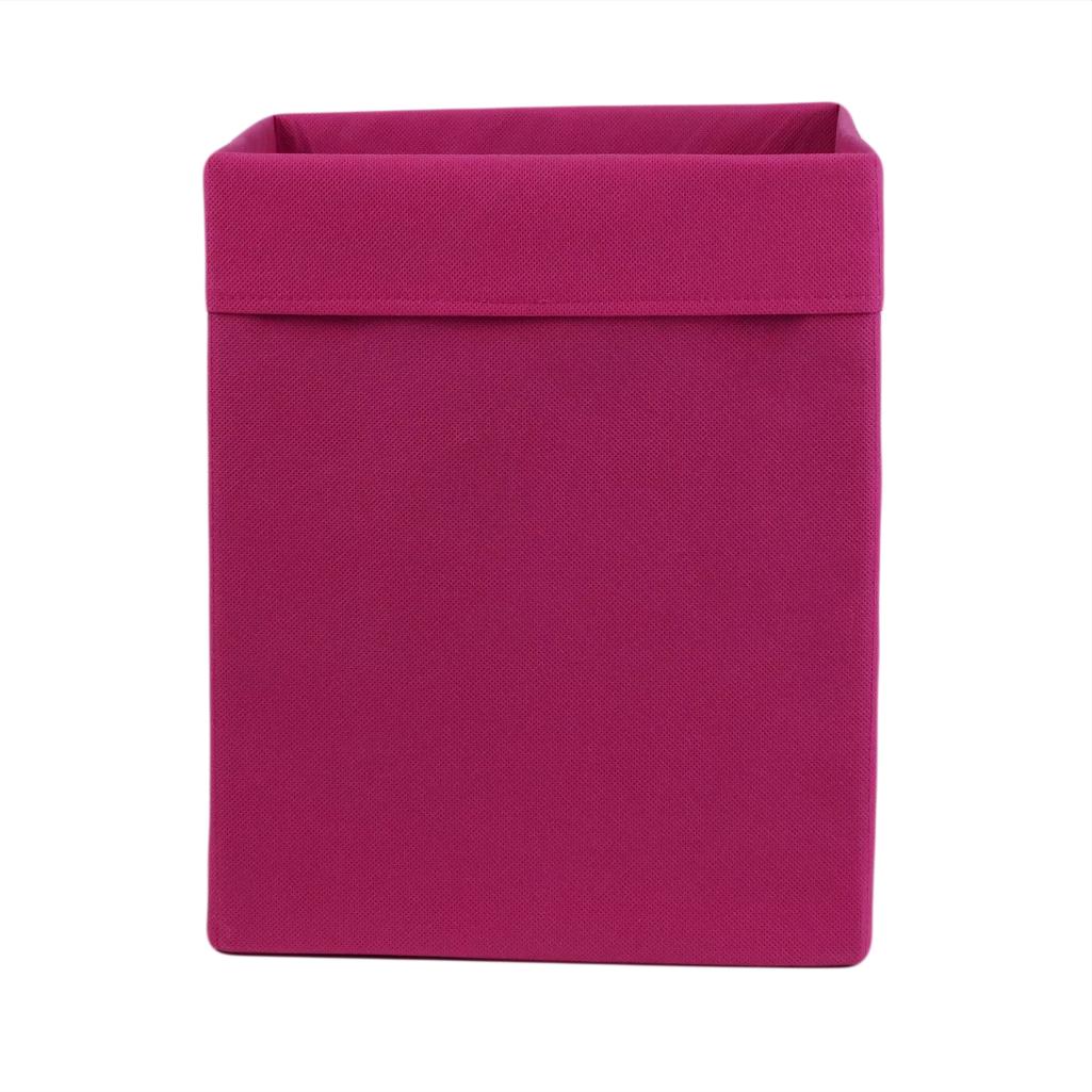 Ящик (коробка) для хранения, 30 * 30 * 40см, (спанбонд), с отворотом (розовый)