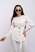 Удлиненная элегантная льняная женская блуза-рубашка (Леонила ri), фото 3