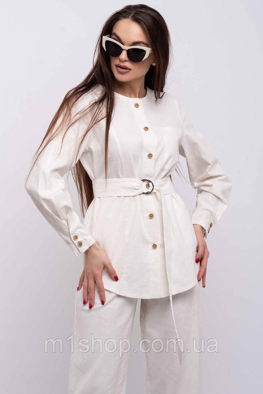 Удлиненная элегантная льняная женская блуза-рубашка (Леонила ri)
