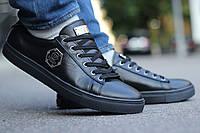 Мужские кожаные туфли черные Philipp Plein