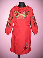 """Вышитое платье """" Маки """" для девочек на рост 116-158 см"""