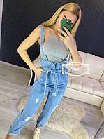 Джинсовый комбинезон женский, стильный, обьемного стиля, 211-0515