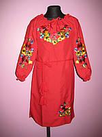 """Красное детское платье вышиванка """"Маки с подсолнухами"""". Рост 116-158"""