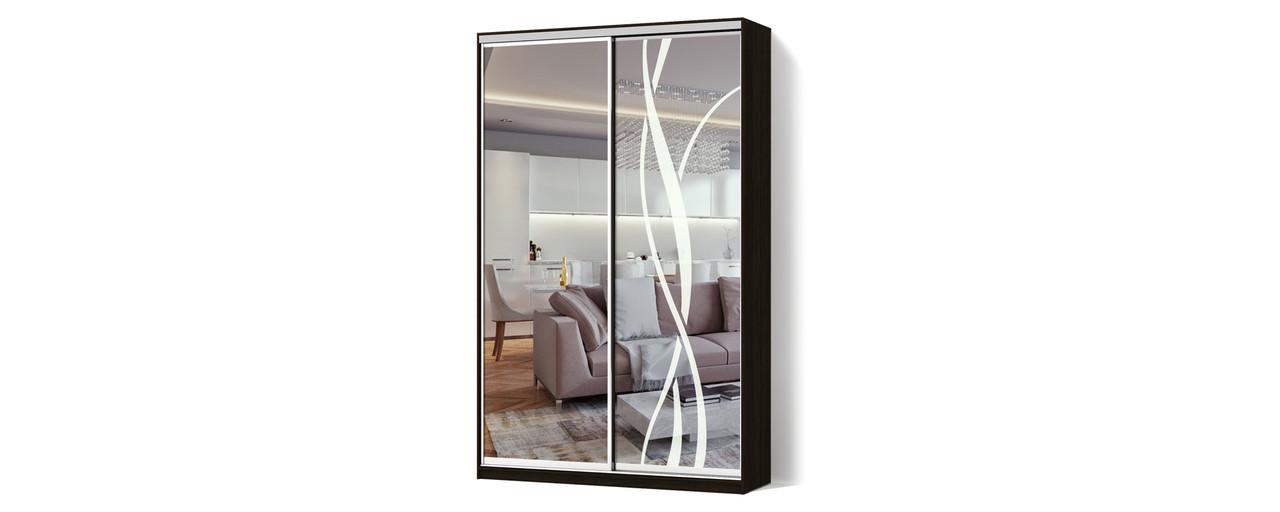 Шкаф-купе Зеркало/Зеркало с рисунком пескоструй двухдверный Классик