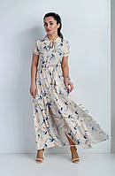 Платье летнее с разрезами кремовое, фото 1