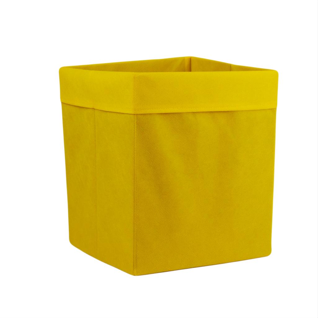 Скринька для зберігання, 25*25*30 см, (спанбонд), з відворотом (жовтий)