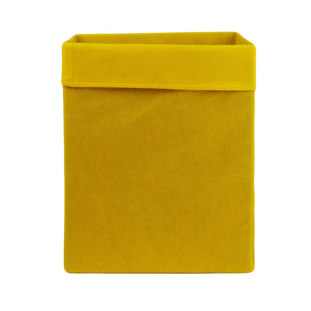 Скринька ( коробка ) для зберігання, 30*30*40 см, (спанбонд), з відворотом (жовтий)