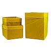 Скринька ( коробка ) для зберігання, 30*30*40 см, (спанбонд), з відворотом (жовтий), фото 3
