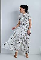 Легке літнє плаття з принтом птиці молочне, фото 1