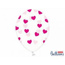 """Воздушный  шар прозрачный с малиновыми сердечками 12"""" 30 см  Party Deco  ( поштучно ) малиновый Польша"""
