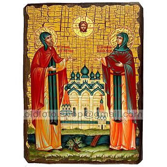 Икона Петр и Феврония Святые Муромские ,икона на дереве 130х170 мм