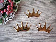 Патчи Корона Большая из эко-кожи золото 8 см на 4.4 см