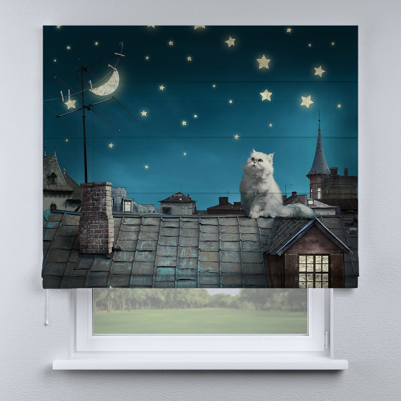 Римская фото штора Кот на крыше