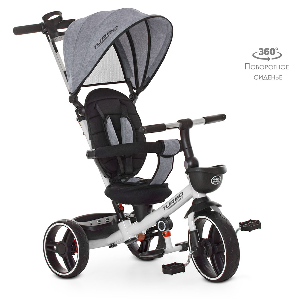 Велосипед трехколесный с поворотом сиденья Turbo Trike М 5447PU-19, серый лен