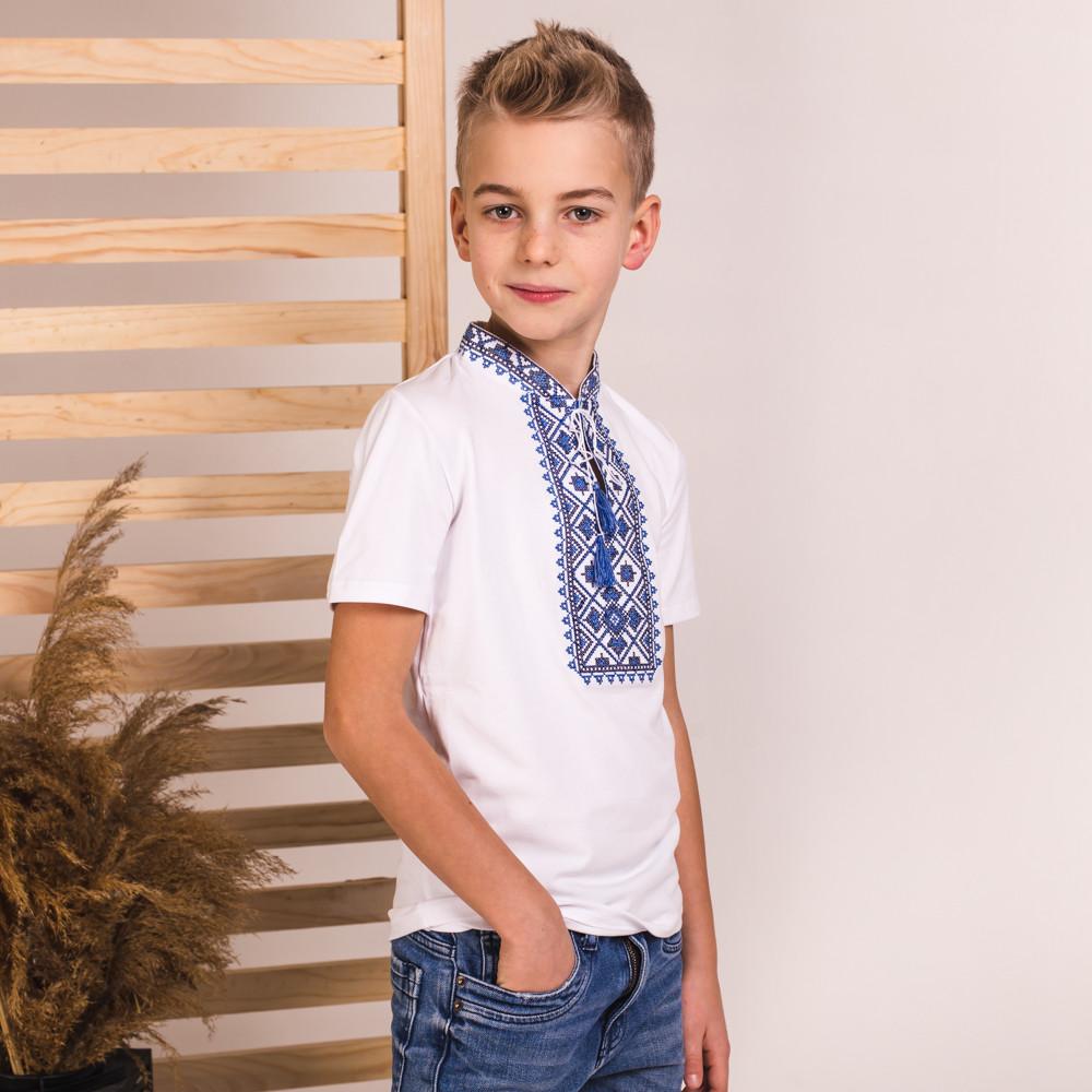 Вишиванка на хлопчика Moderika Зорян біла з синьою вишивкою