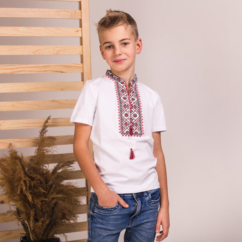 Вишиванка на хлопчика Moderika Зорян біла з червоною вишивкою