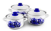Набор индукционных эмалированных кастрюль 2л 3л 4л «Голубая орхидея» Zauberg