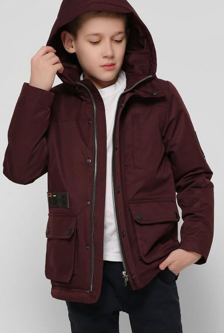 Куртка демисезонная парка цвета марсала для мальчика, Junior Collection