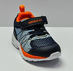 Кроссовки сине-оранжевого цвета на шнуровке и липучке для мальчика, American Club