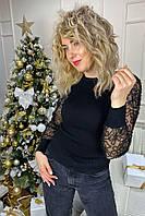 Облегающий джемпер лапша с фатиновыми рукавами  Lovie Look - черный цвет, S (есть размеры), фото 1