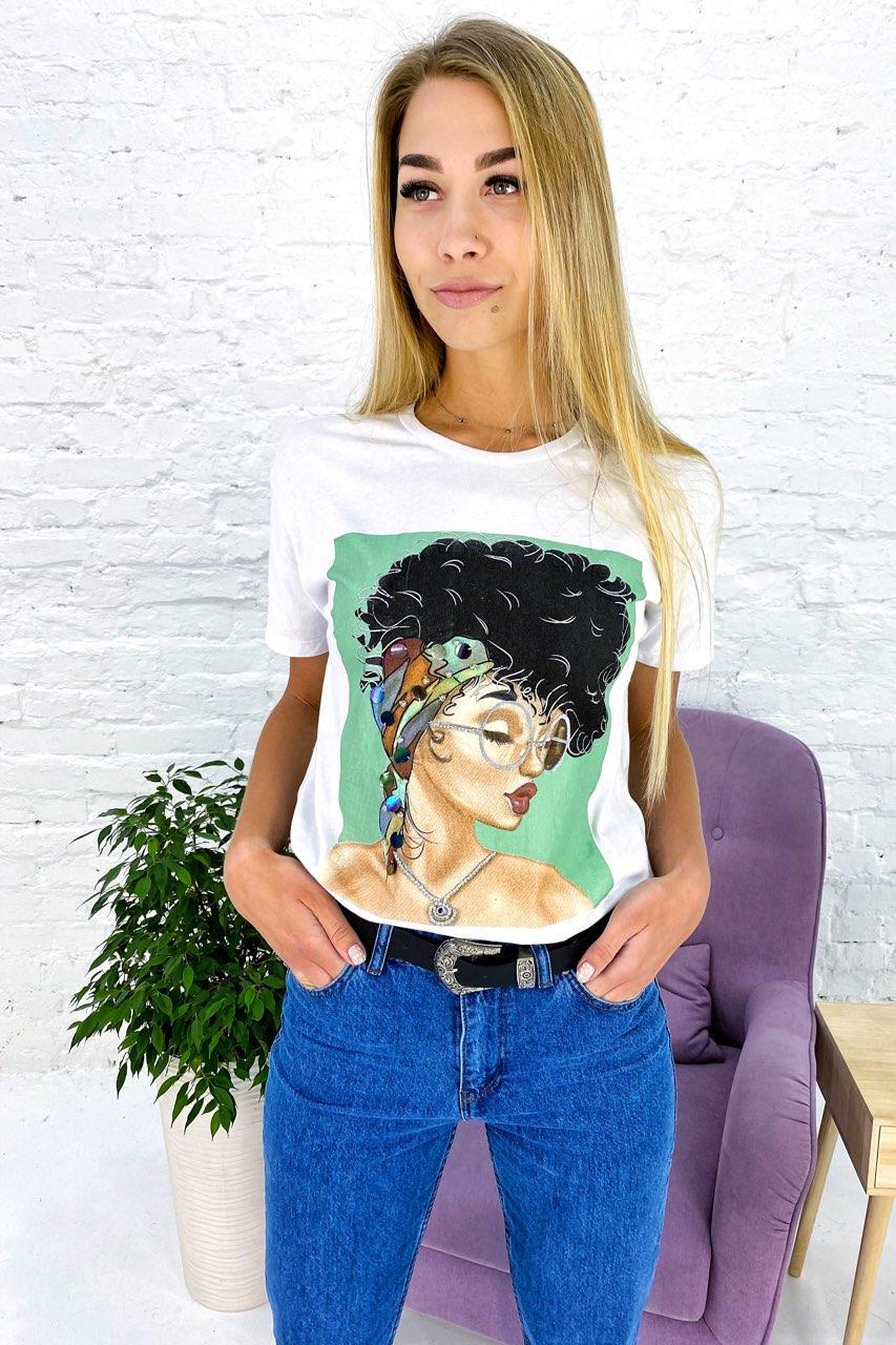 Молодежная футболка с принтом и блестящим декором Crep - белый цвет, M (есть размеры)