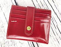 Красивый красный кошелек. Женский кожаный бумажник. Тонкий кожаный кошелек. К3, фото 1