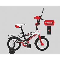 Велосипед детский PROF1 14д. SY1455  Inspirer,черно-бел-красн(мат),свет,звонок,зерк.,доп.колеса