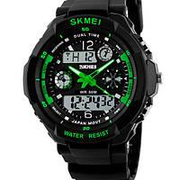 Мужские спортивные кварцевые часы Skmei S-Shock Green (будильник, секундомер)
