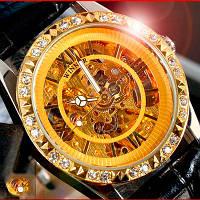 Женские механические классические часы Winner Lux с автоподзаводом (скелетон)