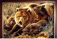 """Картина из натурального янтаря """" Медведи"""", 40\60 см"""