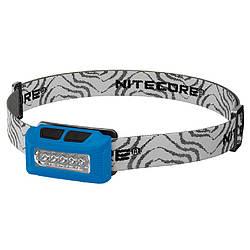 Фонарь налобный Nitecore NU10 (4xLED + RED LED, 160 люмен, 7 режимов, USB), синий