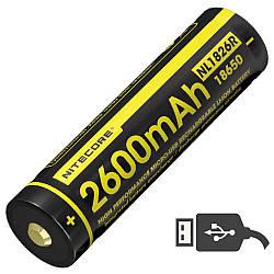 Аккумулятор литиевый Li-Ion 18650 Nitecore NL1826R (2600mAh, USB), защищенный