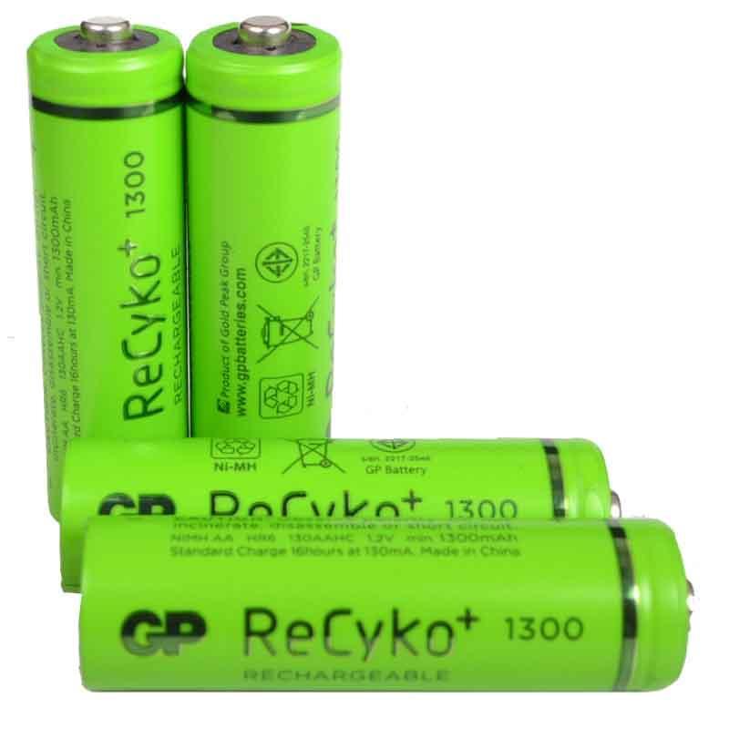 Аккумулятор никель-металлогидридный Ni-MH AA GP ReСyko, 1.2V (1300mAh), 4шт. в блистере