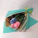 Букет из мыльных цветов тюльпаны Цветочная композиция из мыла ручной работы  Мыльный букет, фото 3