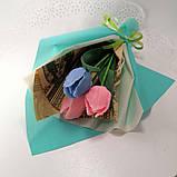 Букет из мыльных цветов тюльпаны Цветочная композиция из мыла ручной работы  Мыльный букет, фото 2