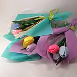 Букет из мыльных цветов тюльпаны Цветочная композиция из мыла ручной работы  Мыльный букет, фото 8
