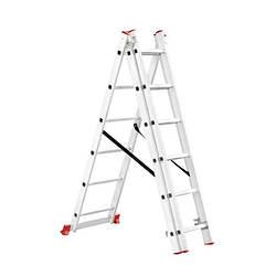 Лестница алюминиевая 3-х секционная универсальная раскладная 3*6ступ. 3.41м Intertool LT-0306
