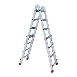 Лестница алюминиевая универсальная раскладная телескопическая 4*4 ступ. 4.20м Intertool LT-2044