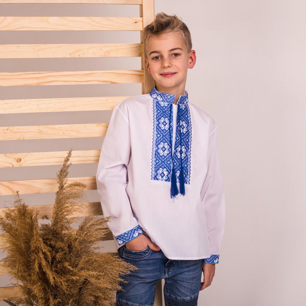 Вишиванка Moderika Дмитрик біла з блакитною вишивкою