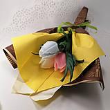 Букет из мыльных цветов тюльпаны Цветочная композиция из мыла ручной работы  Мыльный букет, фото 6