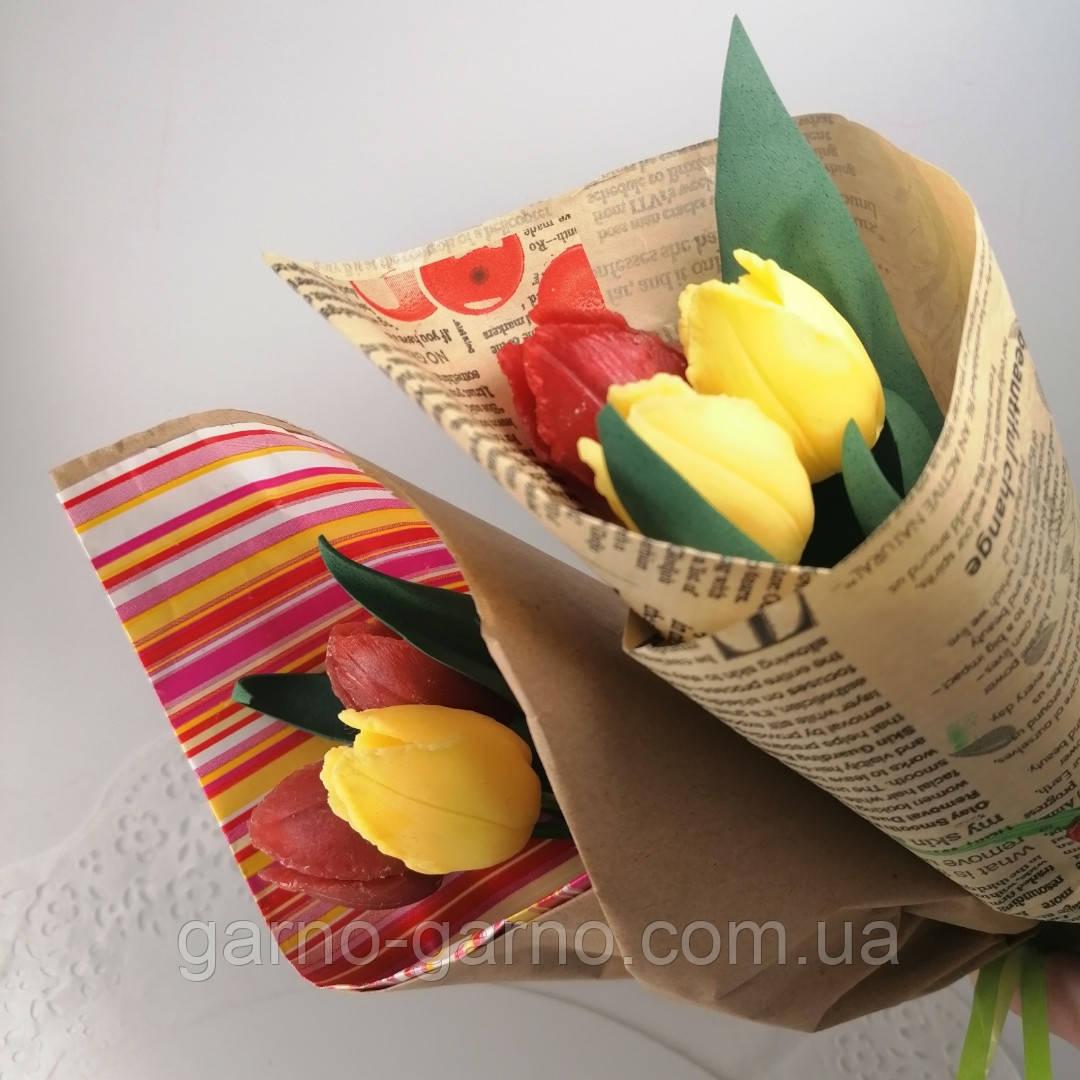 Букет из мыльных цветов тюльпаны Цветочная композиция из мыла ручной работы  Мыльный букет