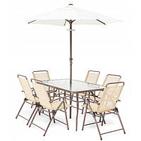 Набор садовой мебели PALERMO + Стол + 6 стульев + Зонт