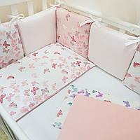 Комплект защита-бортики Маленькая соня Baby Бабочки поплин в кроватку стандарт/овал защита+простынь детский арт.0720222