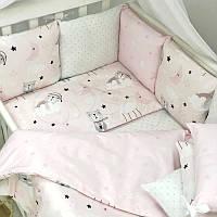 Комплект защита-бортики Маленькая соня Baby Коты в облаках поплин в кроватку стандарт/овал защита+простынь детский розовый арт.0720398